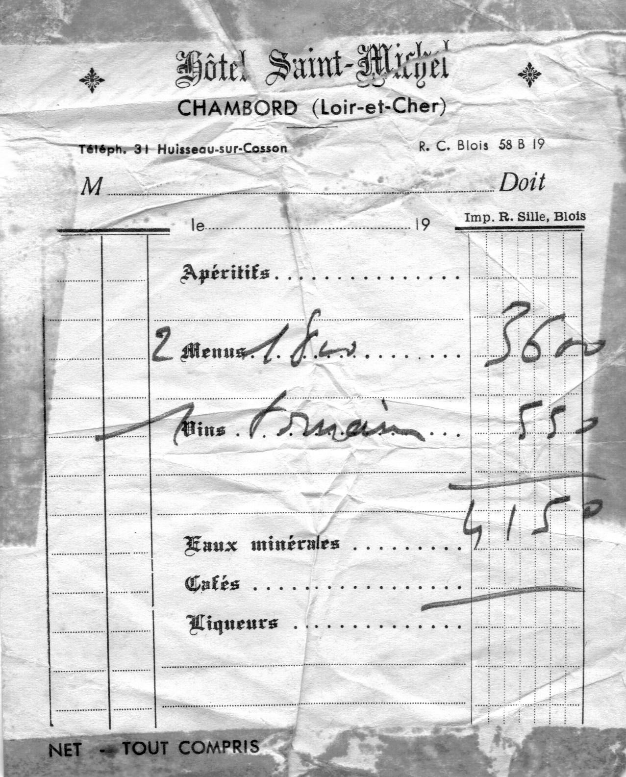 Honeymoon, Hotel Saint Michel, Chambord, June 1966