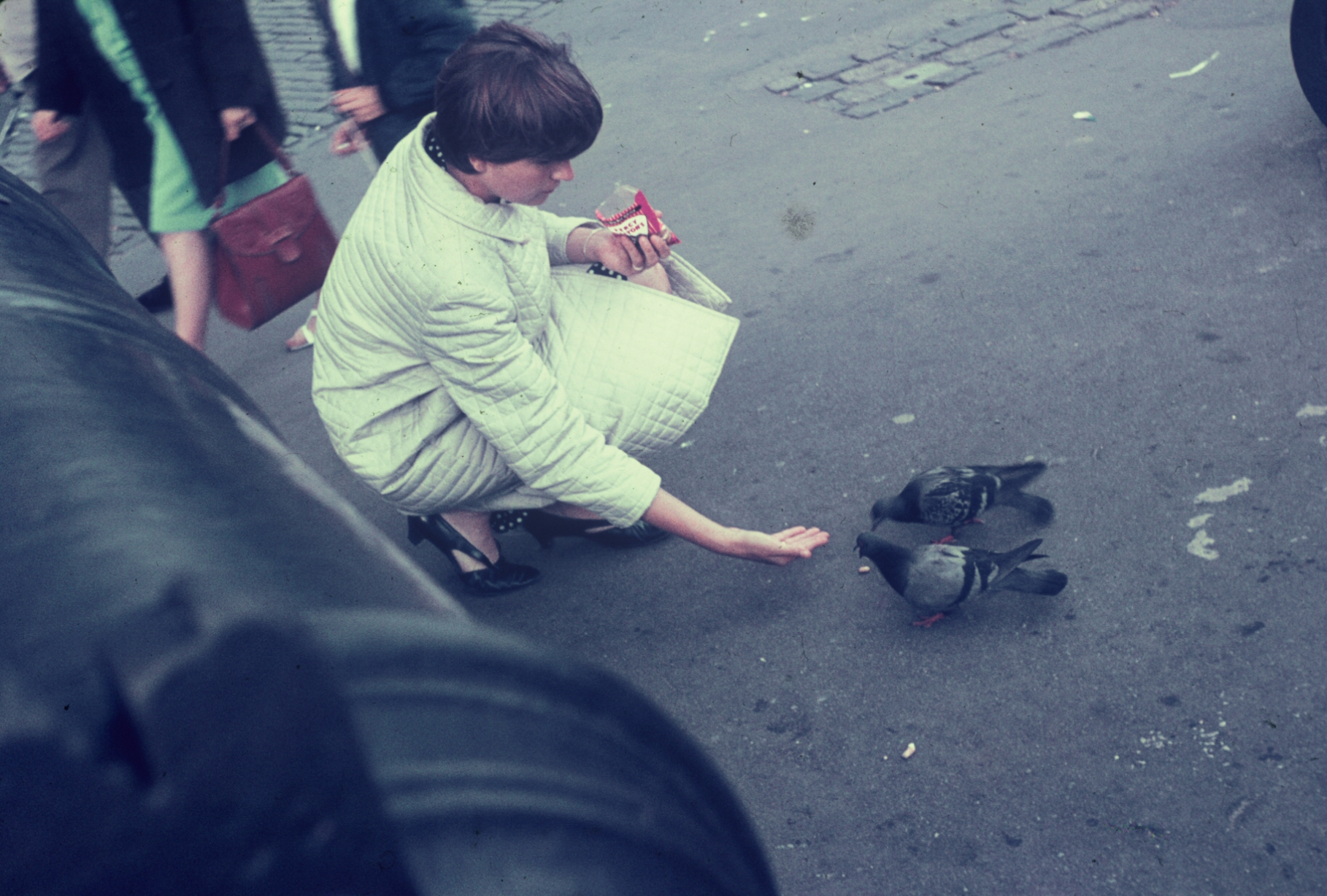 Joan feeding pigeons by Tower of London