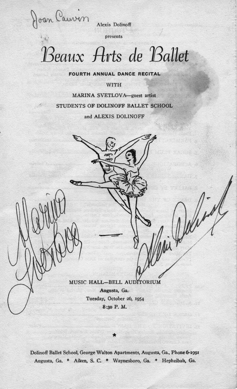 Joan's 1st ballet performance program - 1
