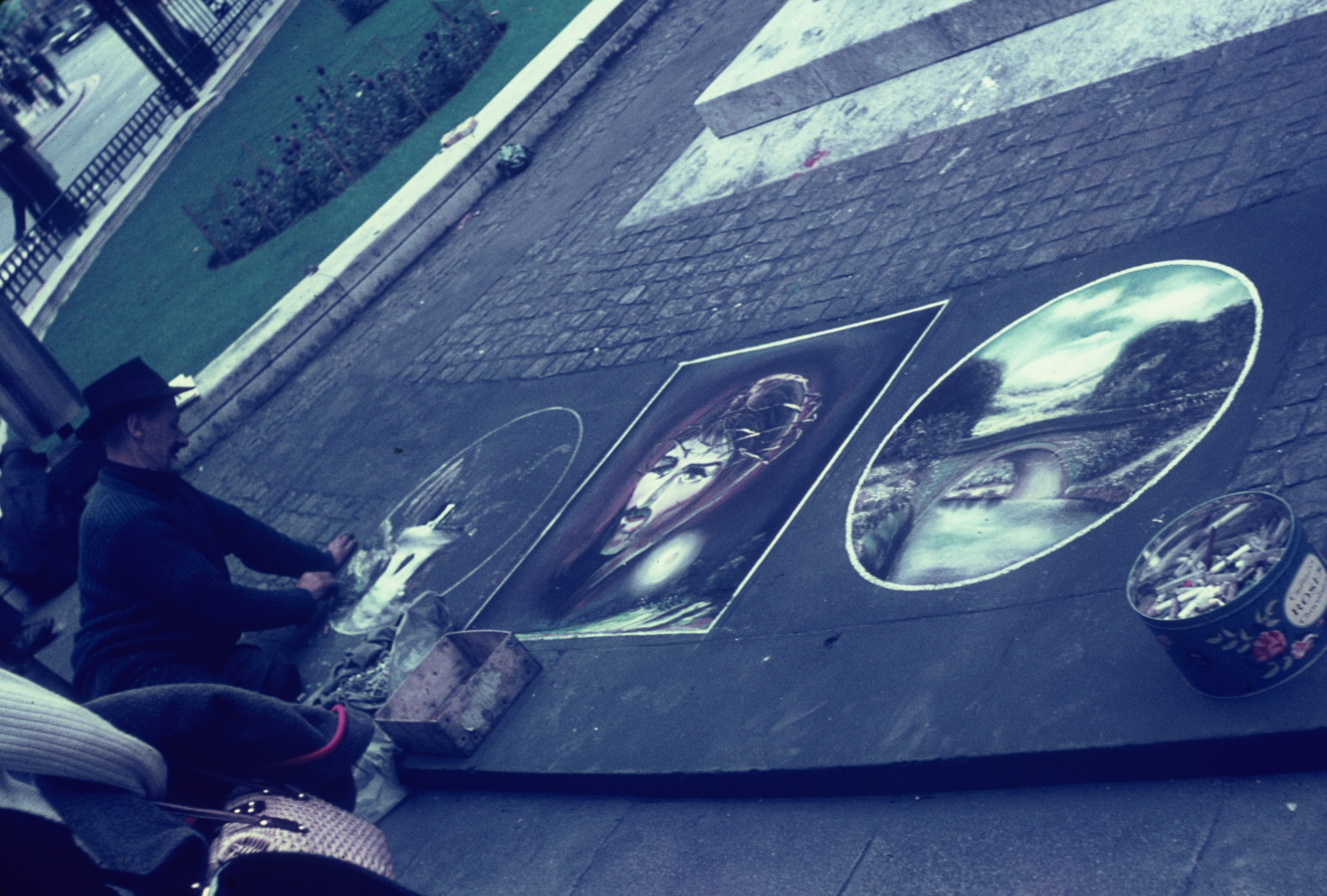 Artist who does chalk pictures on London sidewalks