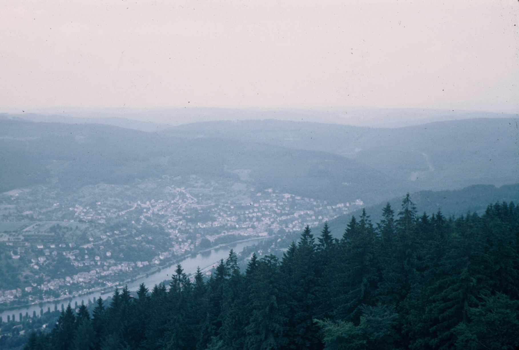 Heidelberg from tower overlooking town