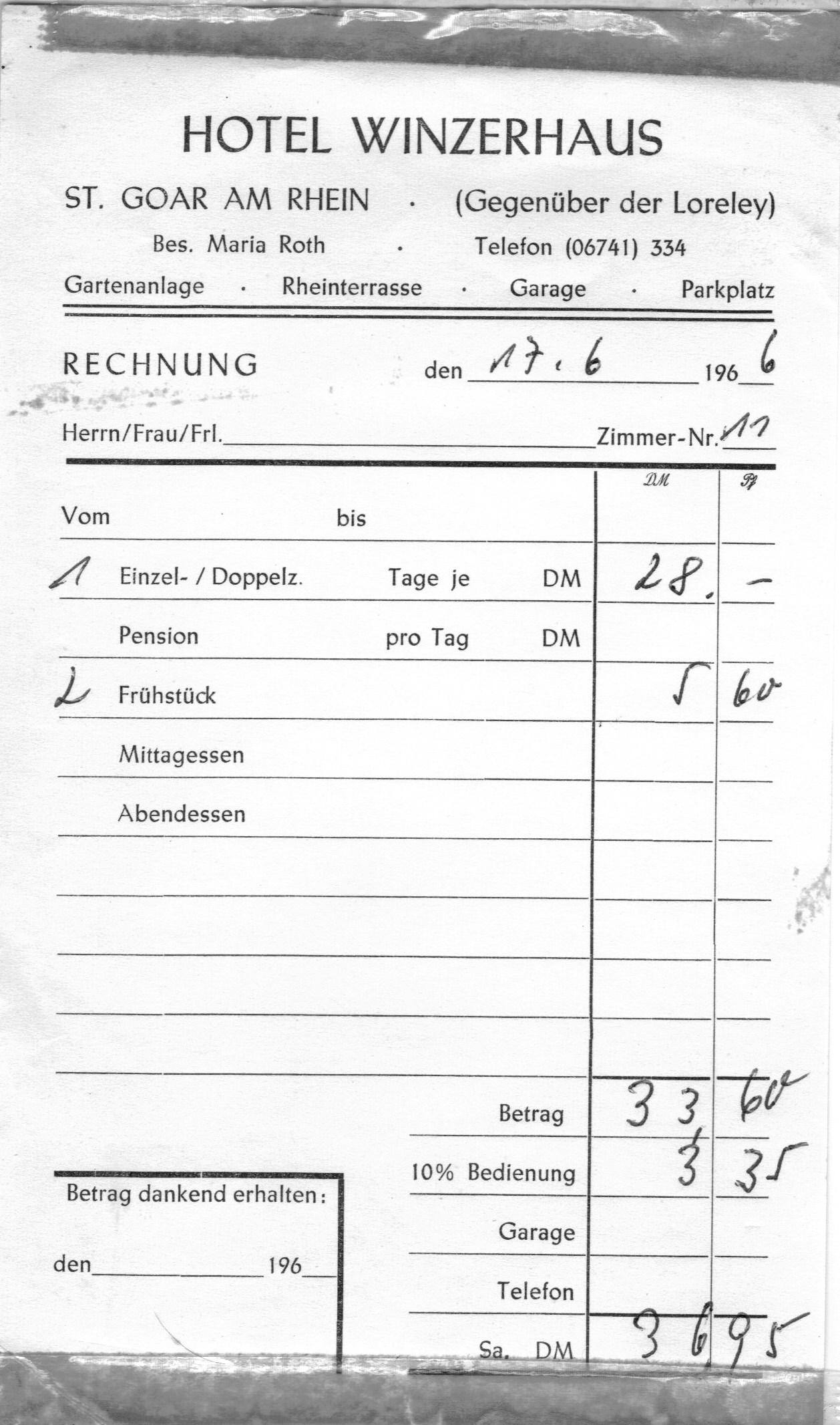 Honeymoon - Hotel Winzerhaus, St. Goar on Rhine, June 17, 1966