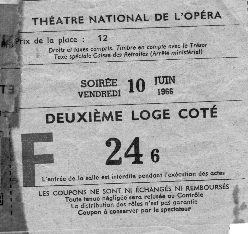 Honeymoon, Paris Opera, June 10, 1966