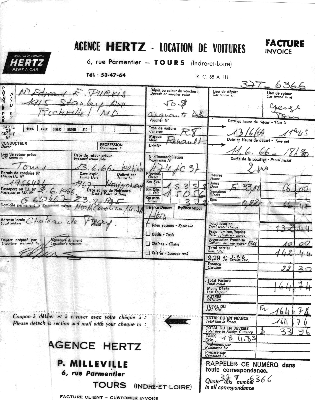 Honeymoon - car rental - Tours - June 11- 13, 1966
