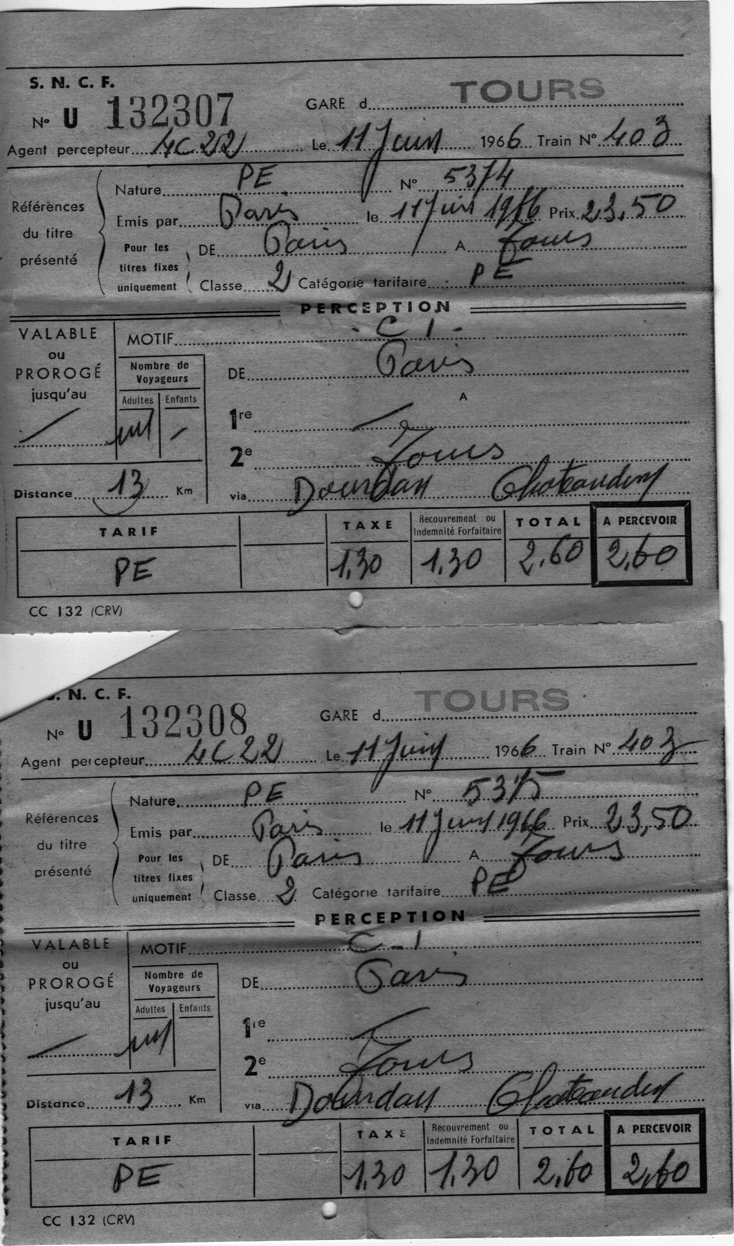 Honeymoon, train tickets Paris to Tours, June 11, 1966